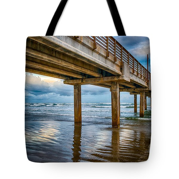 Port A Fishing Pier Tote Bag by Tod and Cynthia Grubbs