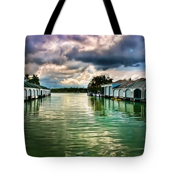 Storm Clouds Over  Port Royal Boathouses In Naples Tote Bag