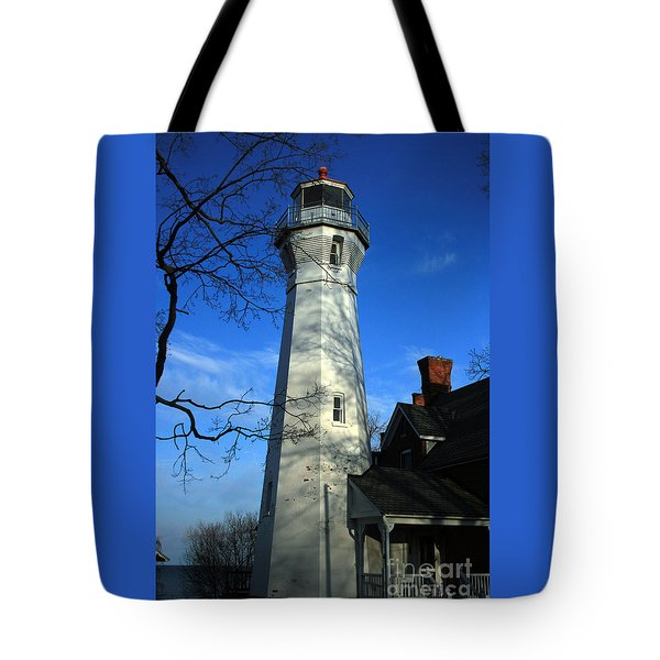 Port Sanilac Lighthouse Tote Bag by Kathy DesJardins