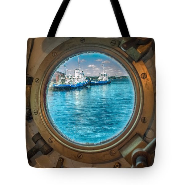 Tote Bag featuring the photograph Hmcs Haida Porthole  by Garvin Hunter