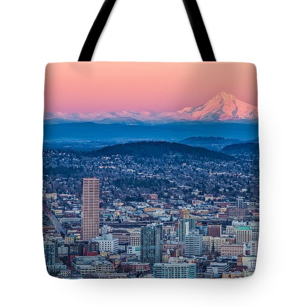 Portland And Mt Hood Tote Bag