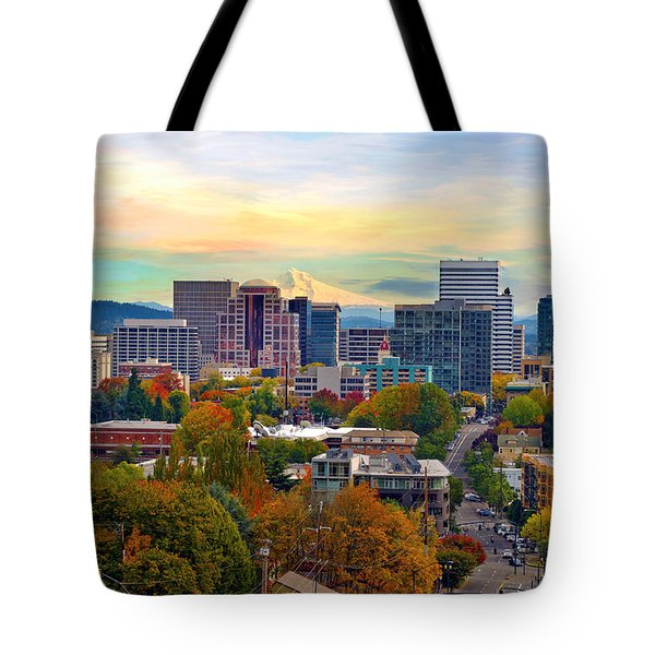 Portland Downtown Cityscape In The Fall Tote Bag