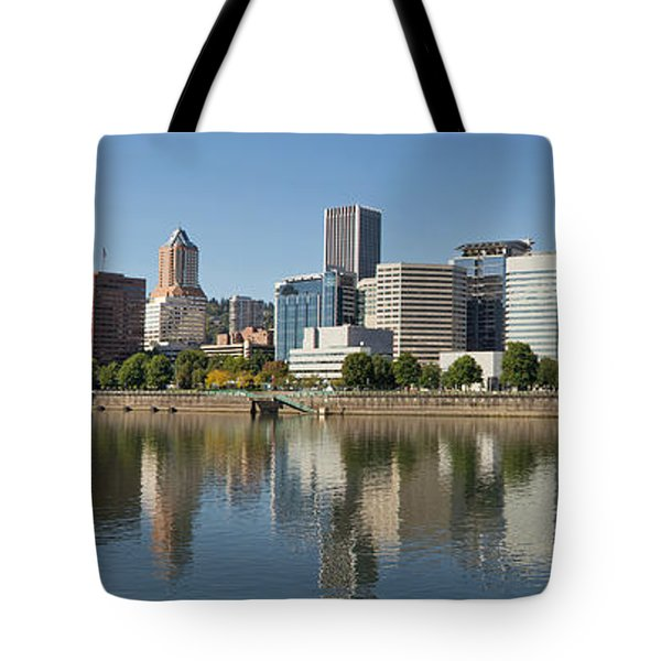 Tote Bag featuring the photograph Portland Downtown Waterfront Skyline Panorama by JPLDesigns