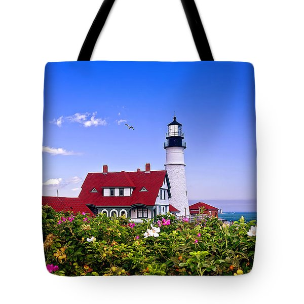Portland Head Light And Roses Tote Bag