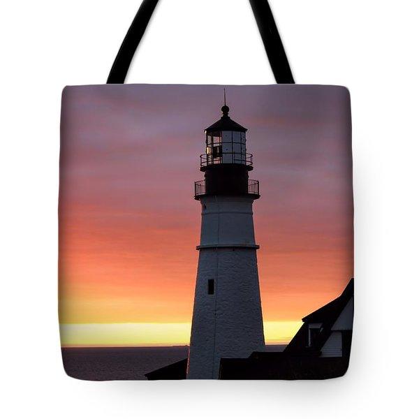 Portland Head Light At Dawn Tote Bag