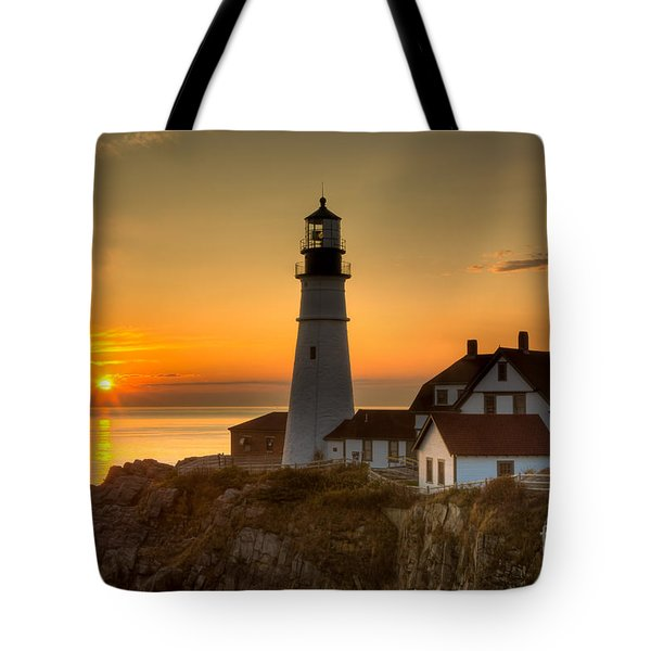 Portland Head Light At Sunrise II Tote Bag