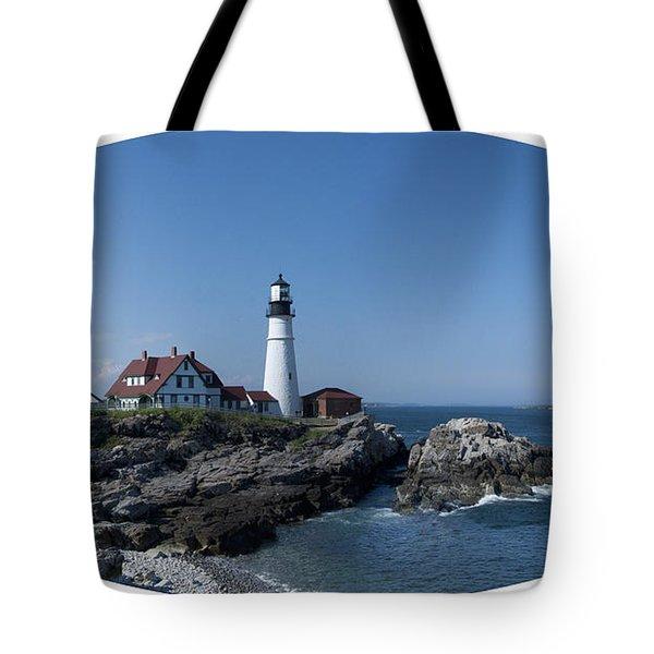 Portland Head Light House Tote Bag by Daniel Hebard