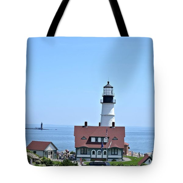 Portland Head Light Tote Bag by Tara Potts