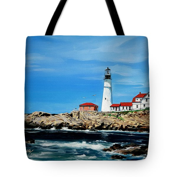 Portland Head Lighthouse Tote Bag by Bill Dunkley