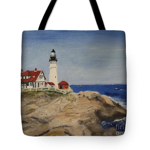 Portland Head Lighthouse In Maine Tote Bag