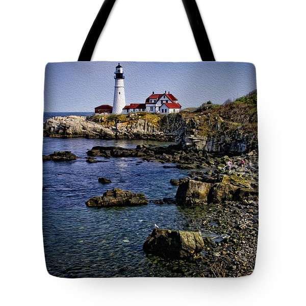 Portland Headlight 37 Oil Tote Bag by Mark Myhaver