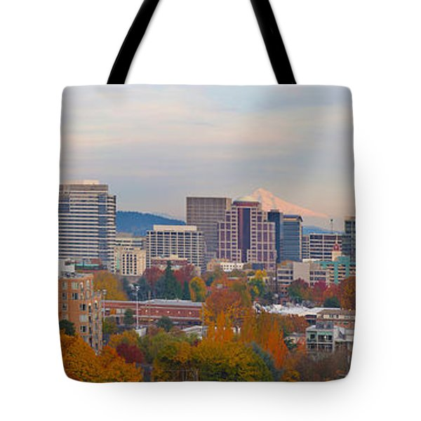 Portland Oregon City Skyline And Mount Hood Tote Bag