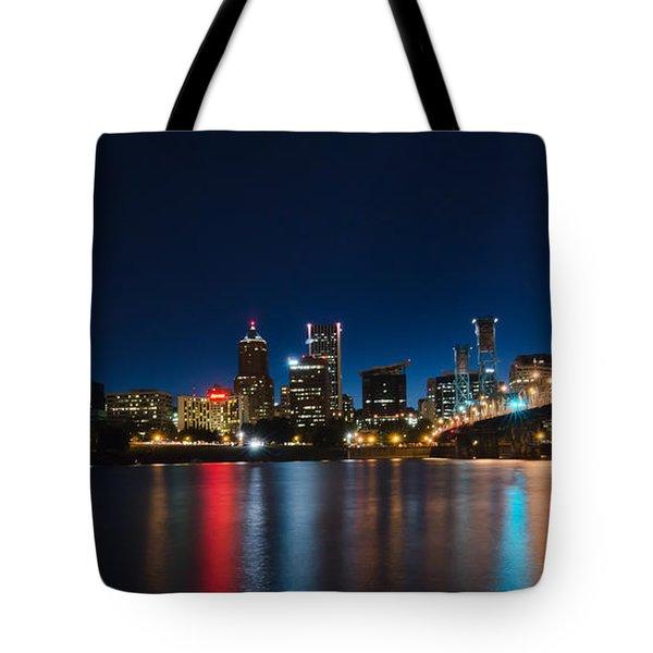 Portland Oregon Nightscape Tote Bag
