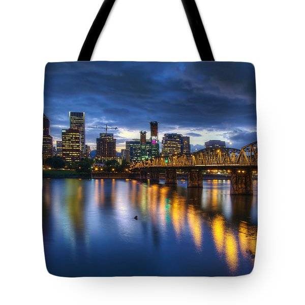 Portland Oregon Waterfront At Blue Hour Tote Bag by David Gn