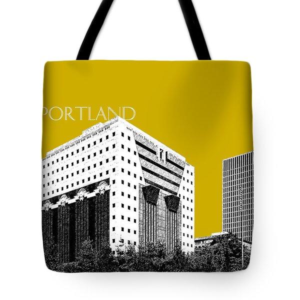 Portland Skyline Ficha Building - Gold Tote Bag