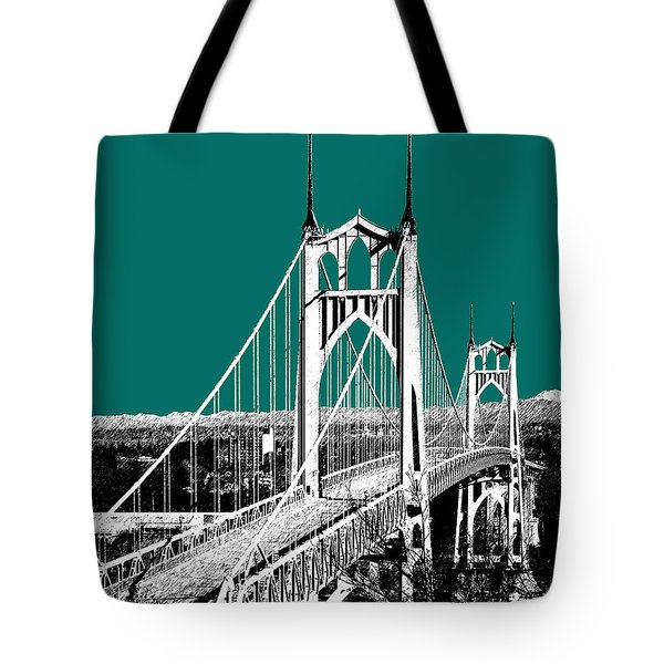 Portland Skyline St. Johns Bridge - Sea Green Tote Bag