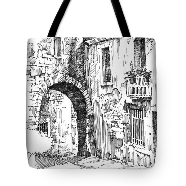 Tote Bag featuring the drawing Portmerion by Paul Davenport