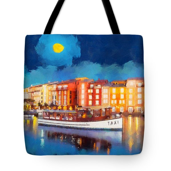 Portofino By Night Tote Bag by George Rossidis