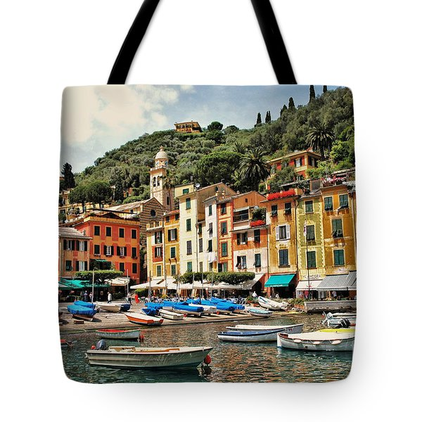 Portofino Harbor 2 Tote Bag by Allen Beatty