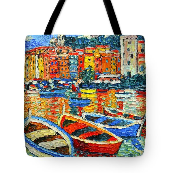 Portovenere Harbor - Italy - Ligurian Riviera - Colorful Boats And Reflections Tote Bag