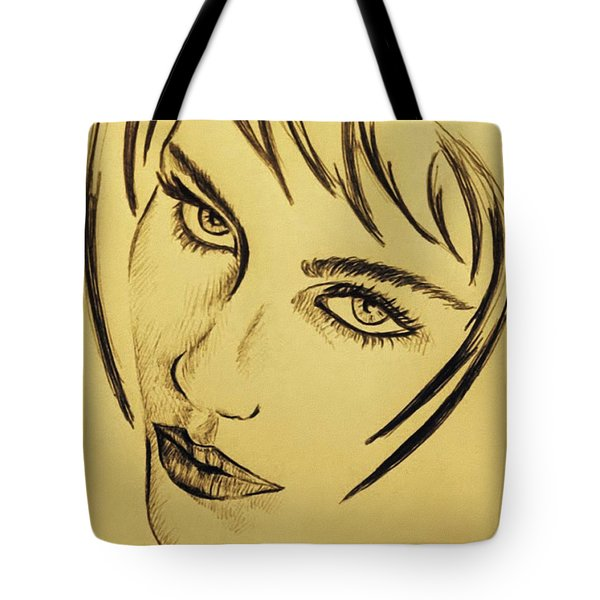 Portrait In A Rainy Day Tote Bag by Ze  Di