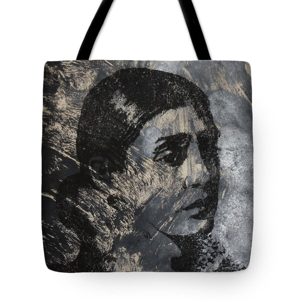 Portrait Monoprint Tote Bag by Rachel Hames