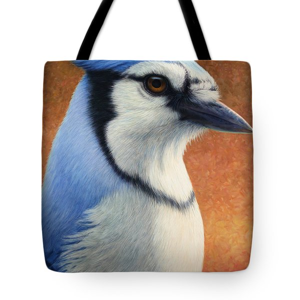 Portrait Of A Bluejay Tote Bag by James W Johnson