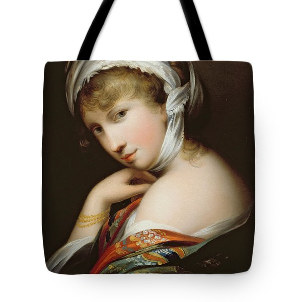Portrait Of A Lady In Eastern Dress Tote Bag by English School