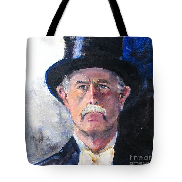 Tote Bag featuring the painting Portrait Of A Man In Top Hat by Greta Corens