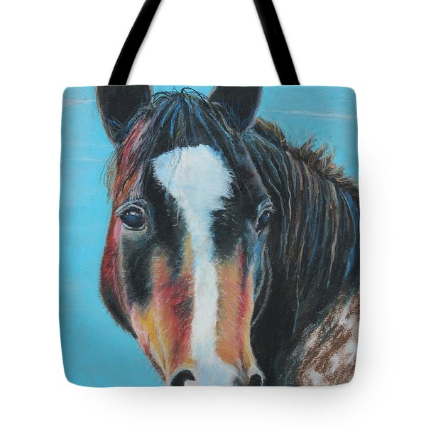 Tote Bag featuring the painting Portrait Of A Wild Horse by Jeanne Fischer