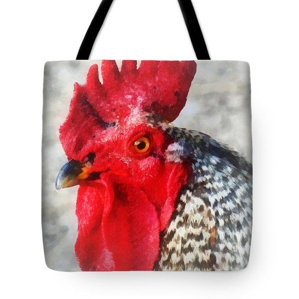 Portrait Of A Rooster Tote Bag by Susan Savad