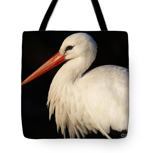 Portrait Of A Stork With A Dark Background Tote Bag