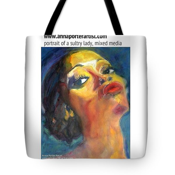Portrait Of A Sultry Lady, Mixed Media Tote Bag