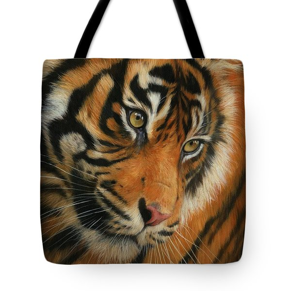 Portrait Of A Tiger Tote Bag by David Stribbling