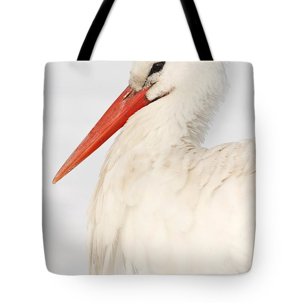 Portrait Of A White Stork In The Snow Tote Bag