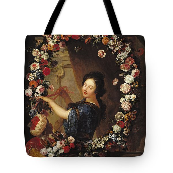 Portrait Of A Woman Surrounded By Flowers, Presumed To Be Julie Dangennes Oil On Canvas Tote Bag