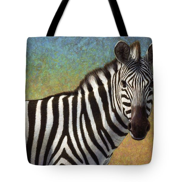 Portrait Of A Zebra Tote Bag by James W Johnson