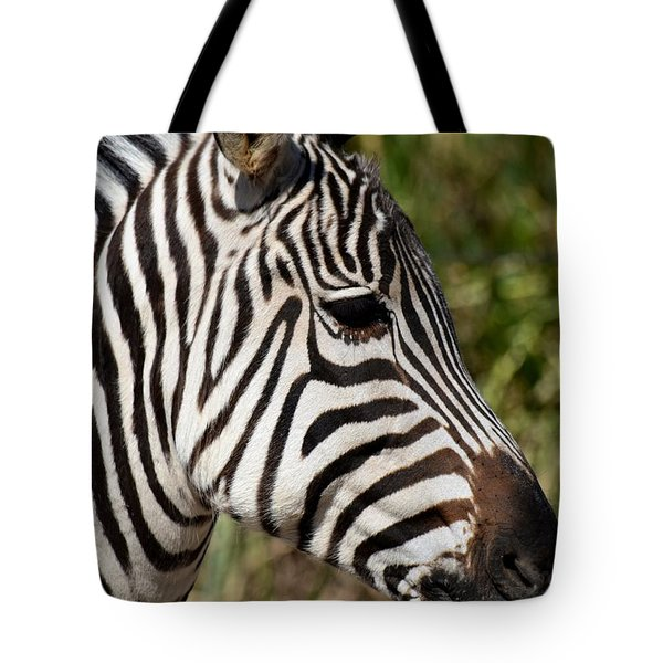 Portrait Of A Zebra Tote Bag by Maria Urso