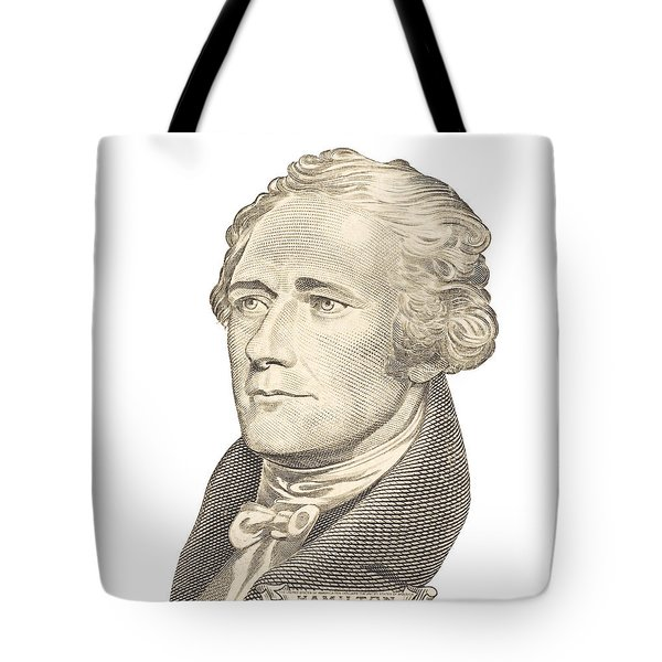 Portrait Of Alexander Hamilton On White Background Tote Bag