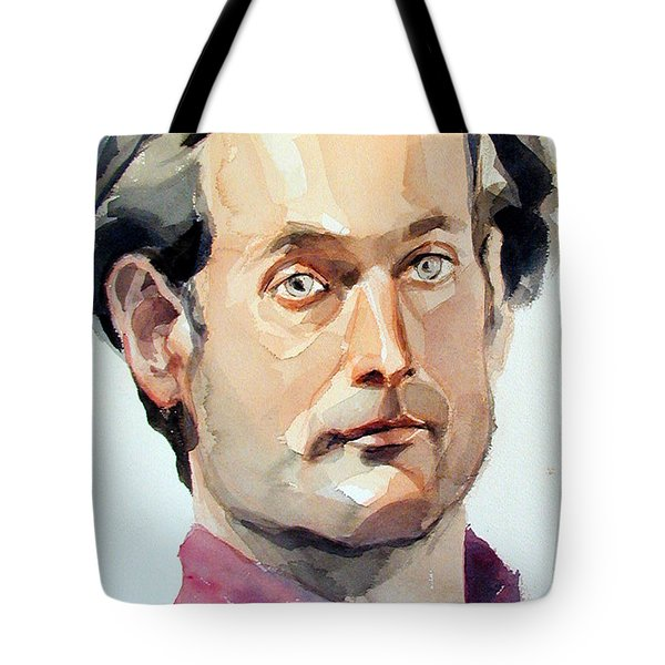 Watercolor Portrait Of A Man With Pale Blue Eyes Tote Bag