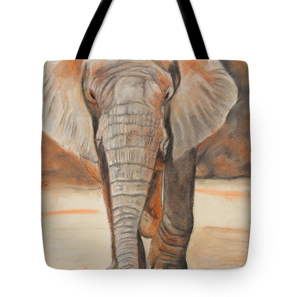 Tote Bag featuring the painting Portrait Of An Elephant by Jeanne Fischer