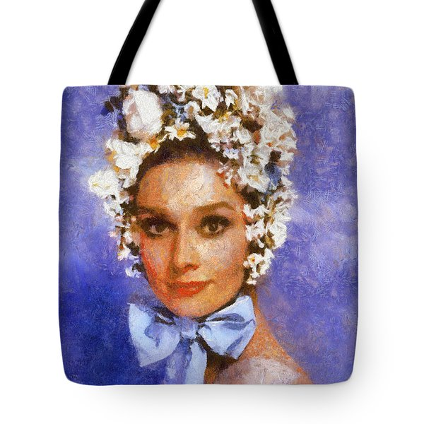 Tote Bag featuring the digital art Portrait Of Audrey Hepburn by Charmaine Zoe