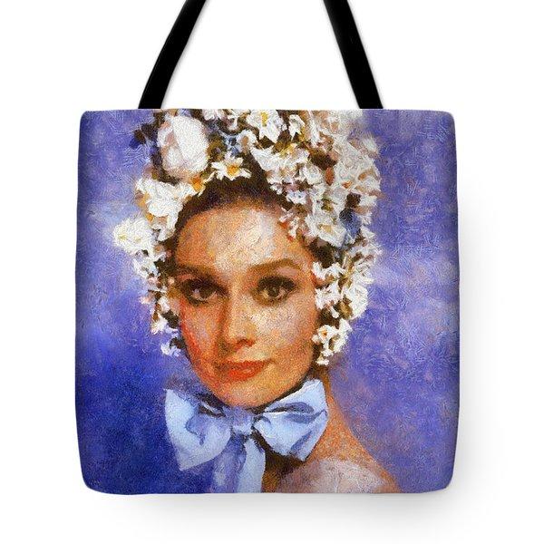 Portrait Of Audrey Hepburn Tote Bag by Charmaine Zoe