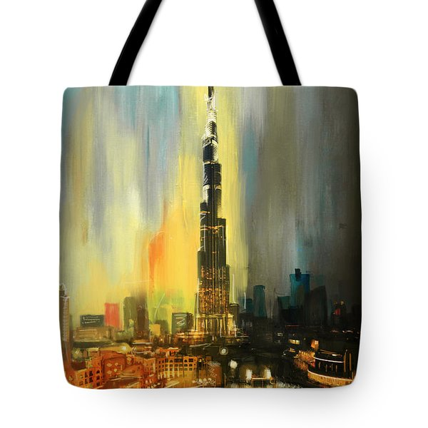 Portrait Of Burj Khalifa Tote Bag by Corporate Art Task Force