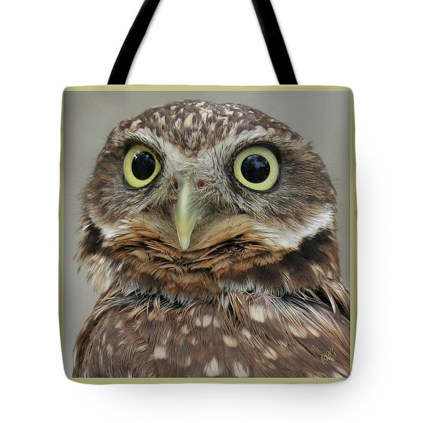 Portrait Of Burrowing Owl Tote Bag