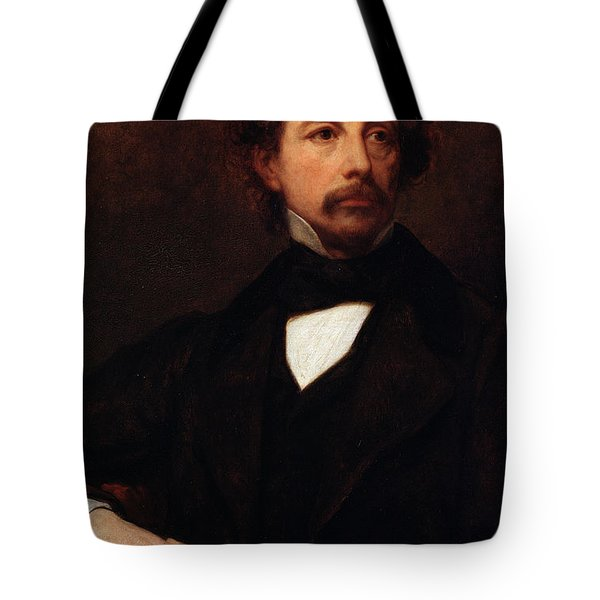 Portrait Of Charles Dickens Tote Bag by Ary Scheffer