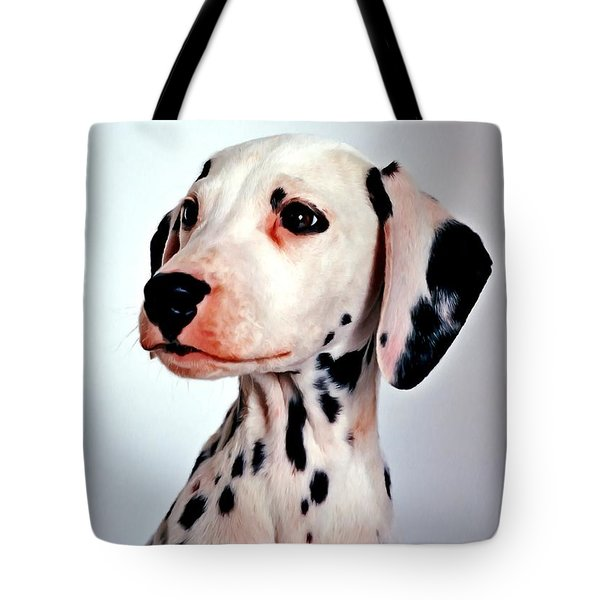 Portrait Of Dalmatian Dog Tote Bag by Lanjee Chee