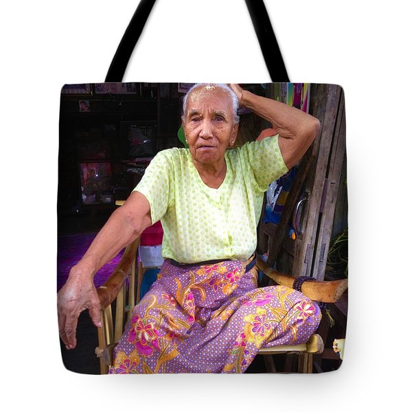 Tote Bag featuring the photograph Portrait Of Elderly Burmese Lady Sitting In Front Of Home 33rd Street Chanayethazan Mandalay Burma by Ralph A  Ledergerber-Photography