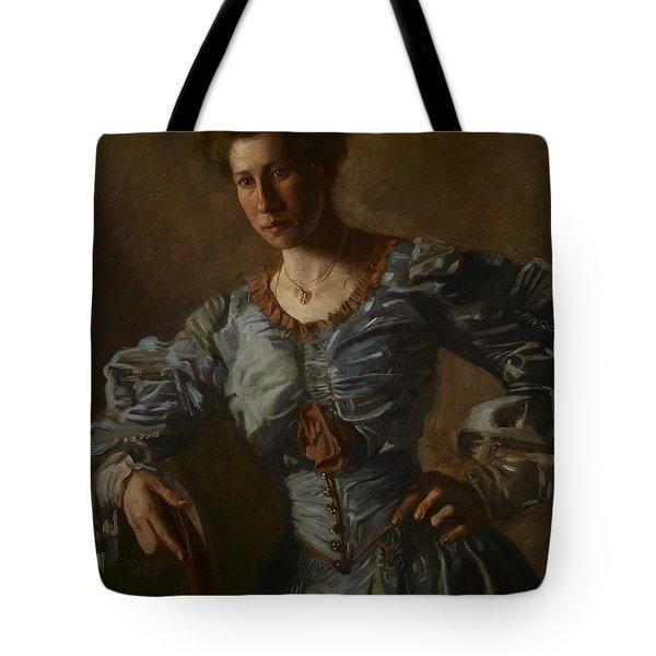 Portrait Of Elizabeth L Burton Tote Bag by Thomas Cowperthwait Eakins