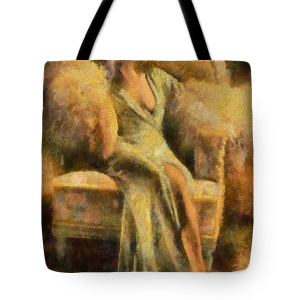 Tote Bag featuring the digital art Portrait Of Jean Harlow by Charmaine Zoe